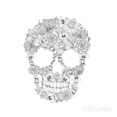Skull From Flowers Prints by cherry blossom girl at AllPosters.com