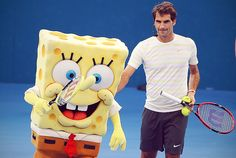 Roger Federer and SpongeBob