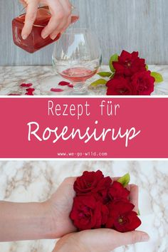 Du möchtest deinen Rosensirup selber machen? Klicke hier für ein schnelles und leckeres Rezept für selbst gemachten Rosenblütensirup. Ein Rezept für Sirup ohne Zucker #rosen #rosensirup #sirup #selbermachen