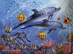 Картина панно рисунок Мастер-класс Урок рисования Рисование и живопись Дельфины Гуашь фото 1
