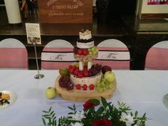 Cheese Wedding Cake by Cheese Couture and fun chair covers by Sparkle Party Plan