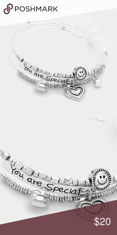 """'You Are Special' Charm Bracelet • Theme : Heart, Message  • Size : 1"""" H, 2.5"""" D • """"You are special"""" smiley face coil wire bracelet with heart charms Jewelry Bracelets"""