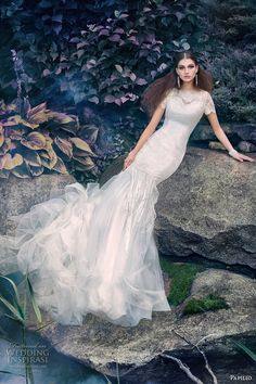 papilio 2016 bridal short sleeves illusion jewel neckline vintage art deco a  line wedding dress sweep train (1636la como) mv