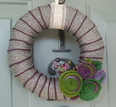 Yarn Wreath Felt Handmade Door Decoration  Green with by ItzFitz, $30.00