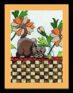 Items similar to Design Works - Brown Checkered Cat, Counted Cross Stitch Kit on Etsy Counted Cross Stitch Patterns, Cross Stitch Embroidery, Cross Stitch Pictures, Buy A Cat, Cross Stitching, Fabric Crafts, Needlework, Quilts, Knitting