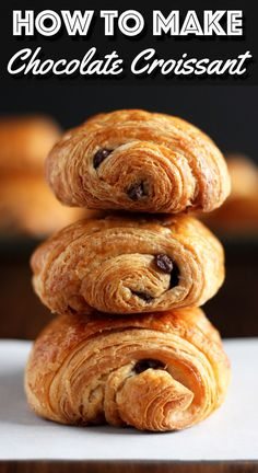 Flaky and buttery homemade Chocolate Croissant will make your morning so much more delicious. Now this is something worth waking up for. | wildwildwhisk.com #croissant #chocolatecroissant