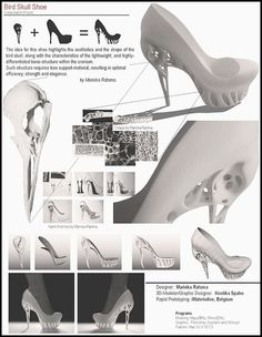 A bird's skull inspired the hollow heel of these shoes by Dutch fashion designer Marieka Ratsma and American architect Kostika Spaho. They used the shape of a bird's cranium… Biomimicry Examples, Skull Shoes, Architecture Concept Drawings, Trends Magazine, Bird Skull, Unique Shoes, 3d Prints, Shoe Art, Designer Heels