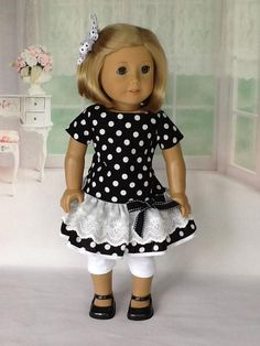 inch doll 18 inch doll dress, leggings, and hair clip.Black and white dot double ruffled dress. American Girl Doll 2015, American Girl Crafts, American Girl Clothes, Ag Doll Clothes, Doll Clothes Patterns, Doll Patterns, Baby Dolls For Kids, 18 Inch Doll, Girl Dolls