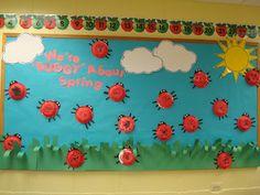 "Trinity Preschool Mount Prospect: Lady Bug ""We're ""buggy"" about spring"" bulletin board"