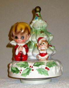 Rare-1960s-Josef-Original-Christmas-Music-Box-Boy-Angel-amp-Dog-Plays-Silent-Night