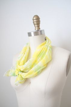 Yellow Green and White Silk Scarf - Hand dyed - Summer scarf