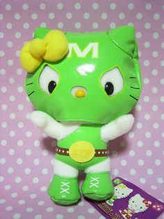 """HELLO KITTY MIMMY PRO Wrestling Mask Plush Doll Sanrio JAPAN 2007 NEW 7.1"""" Green : *Condition* NEW!  Released by Sanrio JAPAN in 2007 and sold in Japan only.  *Size* About  7.1"""" (18cm) in height  54-70.99 (7.90/8.50/11)"""