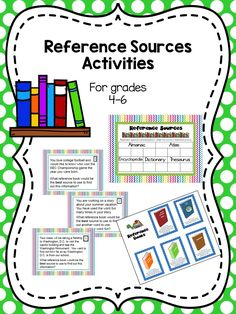 Reference Sources Activity for Grades Library Lesson Plans, Library Lessons, Library Ideas, Elementary Library, Reference Book, Activity Ideas, Dojo, Learning Resources, The Book
