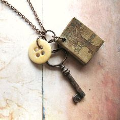 Story Teller - Handmade Copper Chain Necklace With Miniature Book, Vintage Key and Antique Bone Button
