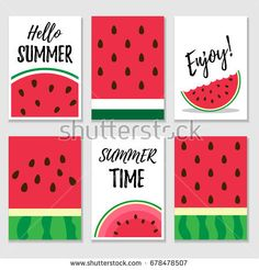 Set of summer cards with watermelon textures and slices. Simple Canvas Paintings, Easy Canvas Art, Small Canvas Art, Mini Canvas Art, Easy Canvas Painting, Cute Paintings, Diy Canvas, Diy Painting, Diy Notebook Cover