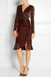 Farley fluted metallic devoré-georgette dress