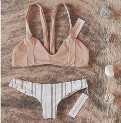 Sexy Retro Stripe Off Shoulder Bikini Set Swimsuit Swimwear
