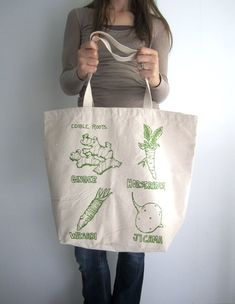 Canvas Tote Bag - Screen Printed Recycled Cotton Grocery Bag - Large Canvas Shopper Tote - Reusable and Washable - Eco Friendly - Foodie. $17.50, via Etsy.