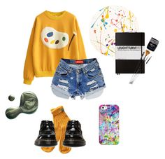 """art hoe"" by pinkquartx ❤ liked on Polyvore featuring Dr. Martens, Lisa Perry, Casetify, Leuchtturm1917 and Illamasqua"