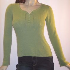 American Eagle Outfitters Size Medium Green 100% Cotton Long Sleeve Top #AmericanEagleOutfitters #KnitTop #Casual