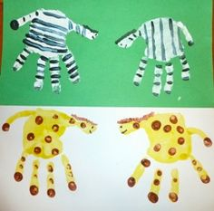 Animal Cracker Math, Handprint Zoo Animal Art & Counting Books, Oh My! G is for Giraffe, Z is for Zebra and Zoo The Zoo, Animal Crackers, Dear Zoo Activities, Art For Kids, Crafts For Kids, Art Children, Footprint Crafts, Handprint Art, Thinking Day