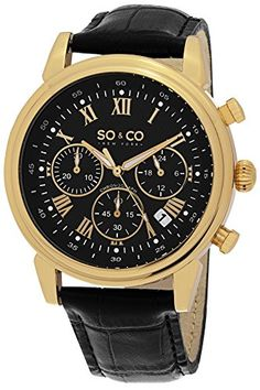 Men's Wrist Watches - SOCO New York Mens 50593 Monticello Quartz Chronograph Date Black Leather Strap Watch * Click image for more details.