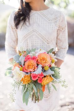 Bright pink roses, vibrant wedding bouquet, orange and white florals // Lori Paladino Photography
