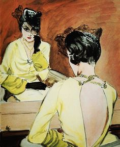 #jeanpatou illustrated by Eric #voguemagazine #americanvogue #1930s #inthemirror