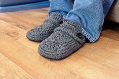 "Pinner said ""Made these last night for my Dad. Did both of them in an evening."" SRN Men's crochet slipper pattern"