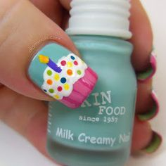 birthday cupcake nail art....ok this is too cute & perfect for young girl on her bday!