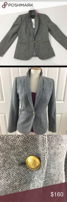 "NWT J Crew Campbell Blazer in Donegal Wool Sz 4 This blazer features a slim, feminine fit and warm Donegal wool, just in time for cooler weather. Peek inside and you'll discover something we like to call ""interior design,"" or those special hidden details that we don't have to spend time on, but do. Think a pretty silk-tie-inspired lining and contrast piping, plus a handkerchief pocket for stashing things like headphones or your favorite lipstick. (comes with extra brass buttons)…"