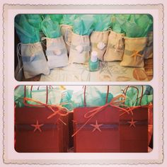 Shower favors and gift bags for a beach themed shower.