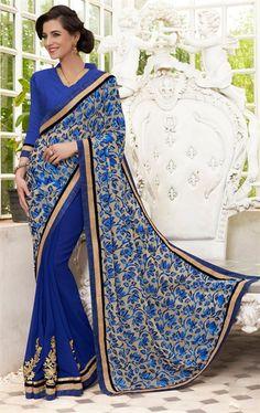 Charming Blue Designer Fashion Saree
