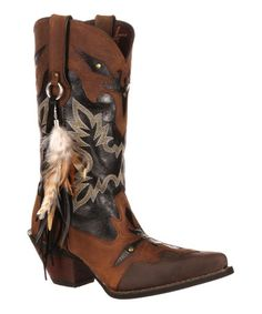 Brown & Black Embroidered Feather Leather Cowboy Boot #zulily #zulilyfinds