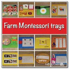 A collection of 12 farm-themed Montessori trays for a preschool farm unit #farm #Montessori    Gift of Curiosity
