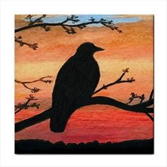 Ceramic Tile Coaster From Painting Bird 46 Crow Raven