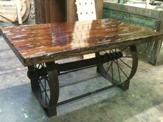 metal wagon wheel table - Google Search