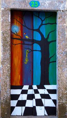 Brightly painted door in Funchal, Madeira, Portugal Door Entryway, Entrance Doors, Doorway, Front Doors, Cool Doors, Unique Doors, Portal, Gates, Doors Galore