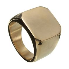316L Stainless Steel Polished Signet Gold Ring