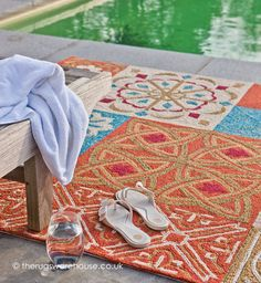 Namada Orange Rug, a hand-woven polypropylene loop outdoor rug (available in 3 sizes, from £300.00) http://www.therugswarehouse.co.uk/namada-orange-rug.html #rugs #outdoorrugs