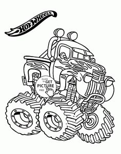 Hot Wheels Monster Truck coloring page for kids, transportation coloring pages printables free - Wuppsy.com