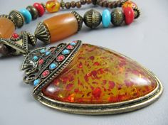 Vintage Ethnic BOHEMIAN 22 Pendant Necklace  by TheTreasureBoxOrna