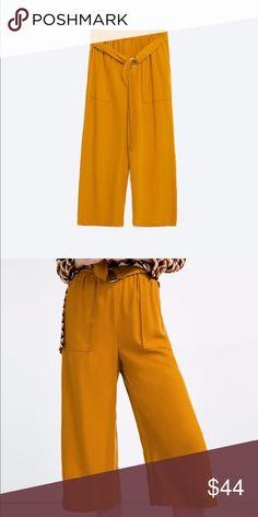 BRAND NEW ZARA MUSTARD TROUSERS NWT Zara mustard yellow flowy trousers, Elastic waistband with belt Zara Pants