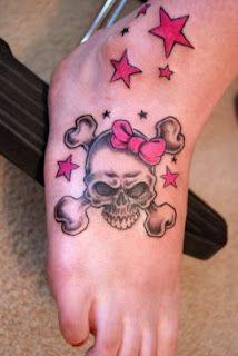 Girlie Skull tattoo  **Like skull with bow -- on EVIL side