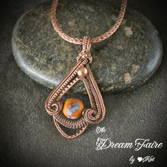 Autumn Aster - Lampwork and Copper Wire Woven Necklace Handmade Artisan Lampwork… Wire Necklace, Wire Wrapped Necklace, Wire Wrapped Pendant, Wire Pendant, Pendant Jewelry, Copper Jewelry, Handmade Necklaces, Handmade Jewelry, Diy Jewelry