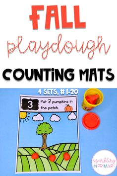 Playdoh Fun Fall Counting Mats for PreK and Kindergarten! 4 themes, each theme contains numbers 1-20. Students create the play doh object and place the correct number on the counting mat. #kindergarten #prek #counting #playdoh #fallfun