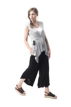 Top Little Woman Harem Pants, Spring Summer, Women, Fashion, Bass, Plunging Neckline, Centre, Gray, Sleeves