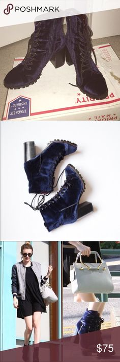 Report Blue Velvet Lace Up Booties Reposh- did not fit.      EUC-barely worn.  Firm Report Signature Shoes Lace Up Boots