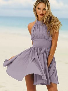 "Pleated Halter Playdress  Get into the season's best gatherings.  Fit-and-flare shape  Button detail at waist  Back zip  16"" from waist  Imported cotton  Lilac Haze"