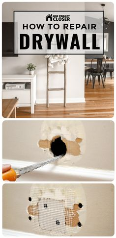 Home Renovation Hacks How to Repair a Medium-Size Hole in Drywall - One Project Closer - Learn how to repair a medium-sized hole in drywall like the pros. The result is a strong patch and seamless finish every time.